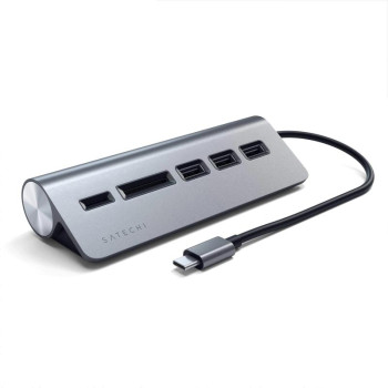 USB-концентратор Satechi Type-C Aluminum USB 3.0 Hub & Card Reader, Space Gray
