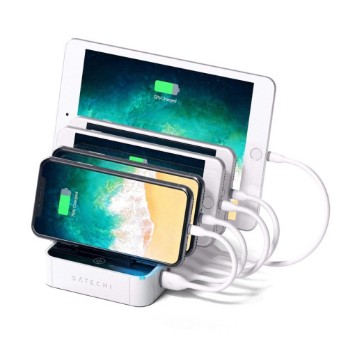 Док-станция Satechi 5-Port USB Charging Station Dock с Qualcomm Certified Quick Charge 2.0, белый