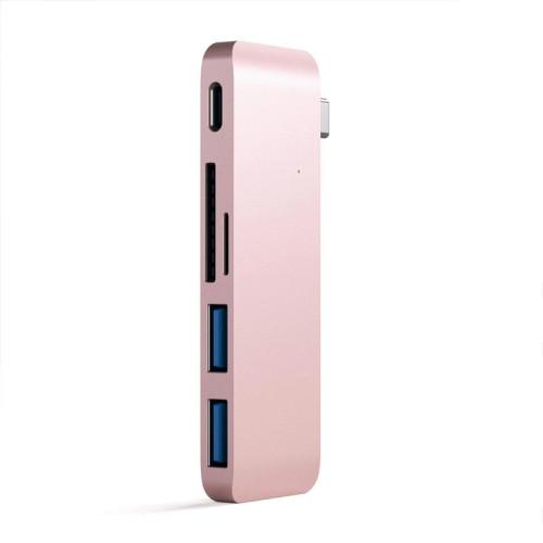 Хаб Satechi Type-C Pass-Through USB Hub with USB-C Charging Port, Rose Gold