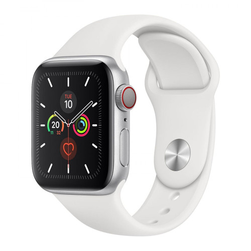 Умные часы Apple Watch Series 5 44mm GPS+LTE Silver Aluminum Case with White Sport Band (MWVY2)