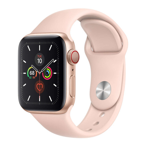 Умные часы Apple Watch Series 5 44mm GPS+LTE Gold Aluminum Case with Pink Sand Sport Band (MWW02)