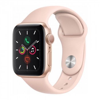 Умные часы Apple Watch Series 5 40mm GPS Gold Aluminum Case with Pink Sand Sport Band (MWV72)
